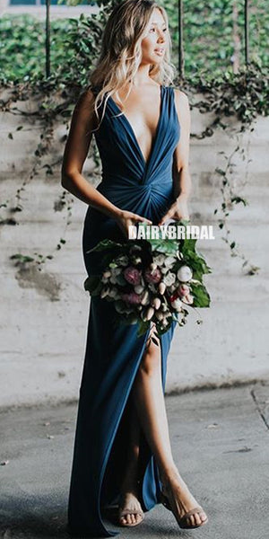 Sexy Deep V-neck Mermaid Jersey Backless Slit Pleated Bridesmaid Dress, FC2533