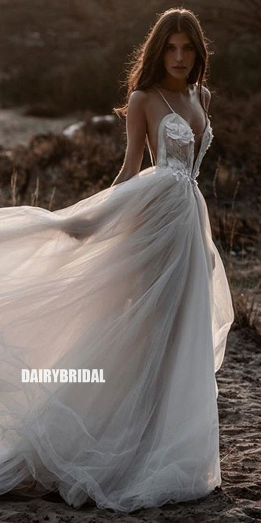 Inexpensive A-Line Tulle Spaghetti Straps Backless Applique Wedding Dresses, FC2571