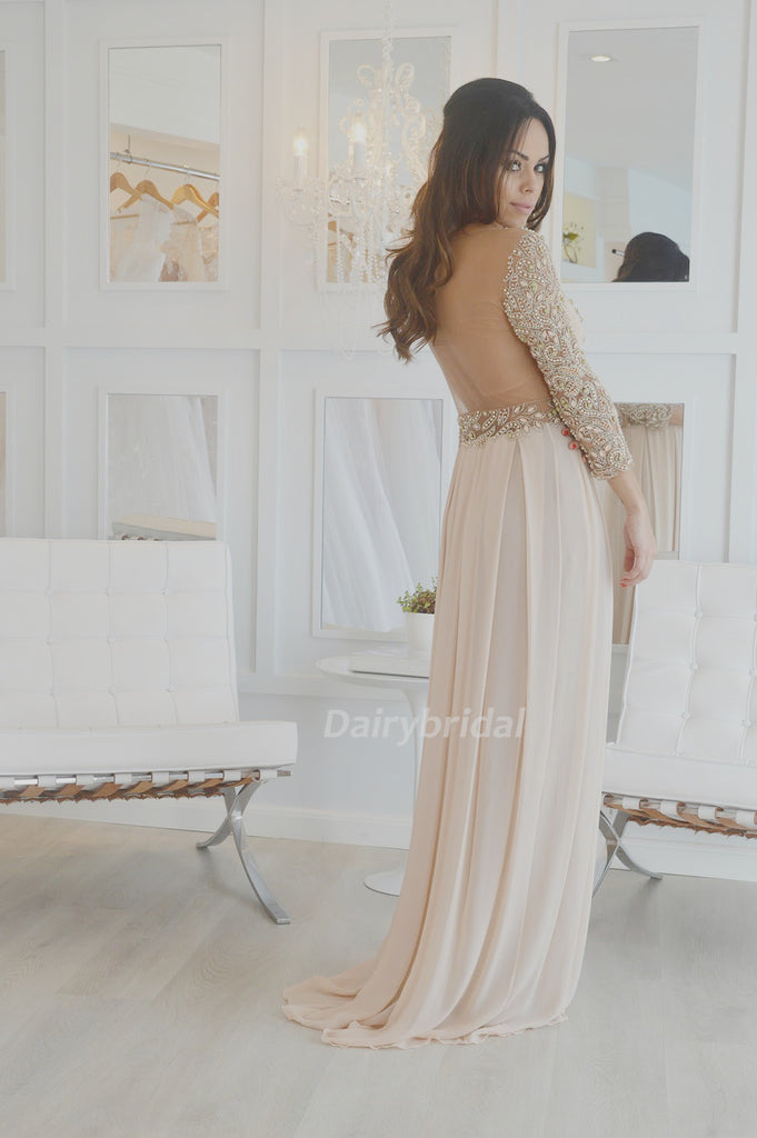 Beaded Party Dresses, Long Sleeve Prom Dress, Chiffon Prom Dress, See Through Prom Dress, D25