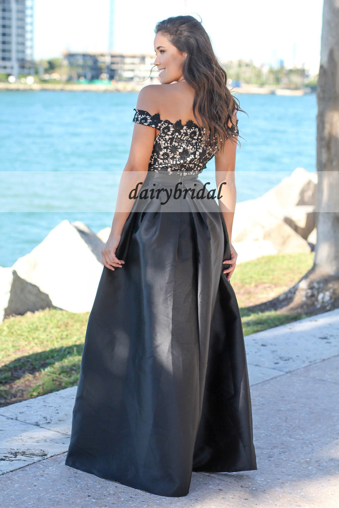 Off the Shoulder Satin Prom Dress, Charming A-Line Lace Prom Dress, D264
