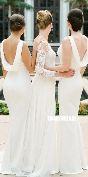 Honest White Sleeveless Mermaid Double FDY Backless  Bridesmaid Dress, FC2676