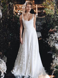 Charming A-line Square Neckline Lace Backless Wedding Dresses, FC2682