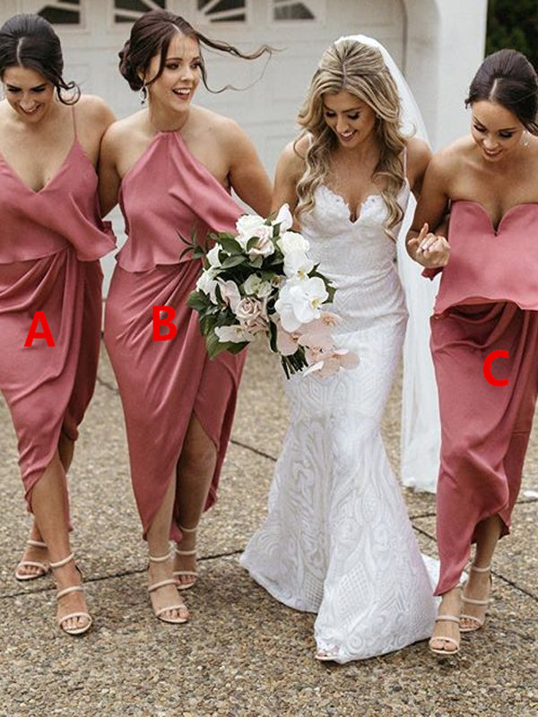 Simple Mismatched Backless High-low Chiffon Bridesmaid Dress, FC2683