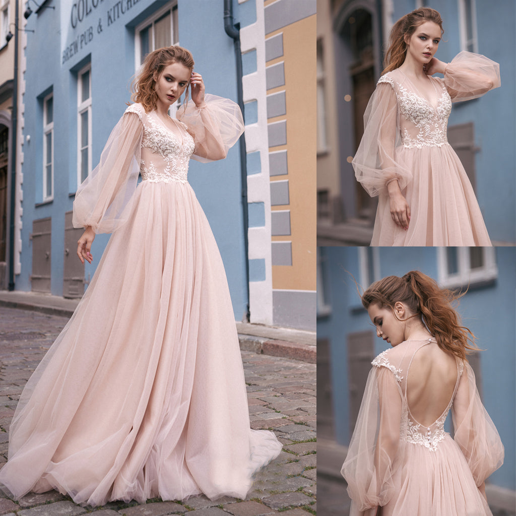 Vintage Tulle Long Sleeve Wedding Dress, Open-Back Applique Wedding ...