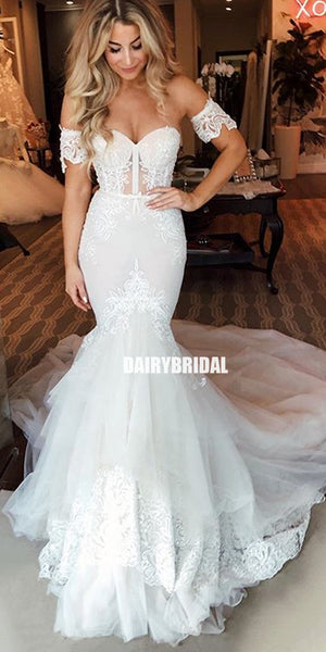 Elegant Sweetheart Mermaid Lace Backless Tulle Wedding Dresses, FC2692
