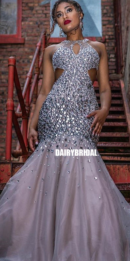 Luxury Beaded Mermaid Backless Tulle Prom Dress, FC2693