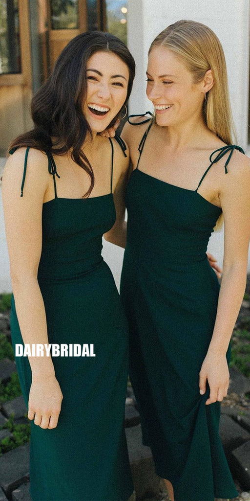 A-line Spaghetti Straps Backless Jersey Tea-length Bridesmaid Dress, FC2695