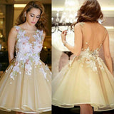 Newest  Lace Appliques Flowers Ball Gown Organza Backless Homecoming Dresses ,220027