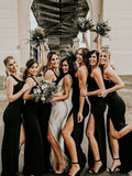 Black One Shoulder Sexy Slit Mermaid Jersey Bridesmaid Dress, FC2705
