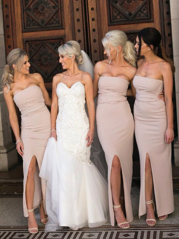 Elegant Mermaid Backless Straight Neckline Slit Bridesmaid Dress, FC2707