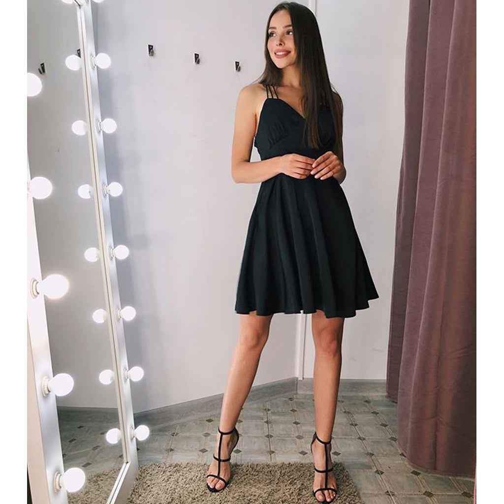 Inexpensive Black A-line Chiffon Simple Homecoming Dress, FC2730