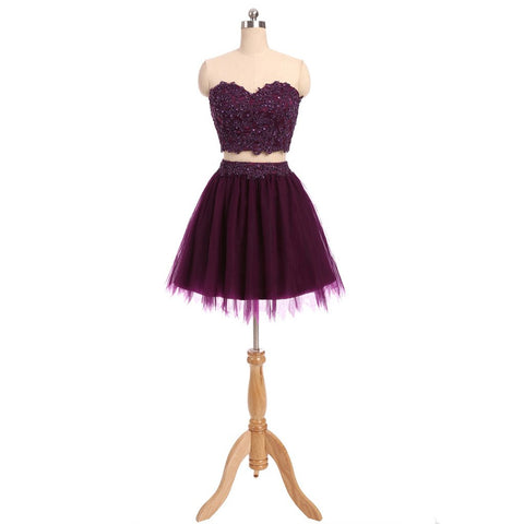 Short Homecoming Dress, Two Pieces Homecoming Dress, Tulle Homecoming Dress, Lace Junior School Dress, Sequin Graduation Dress, Applique Homecoming Dress, LB0278