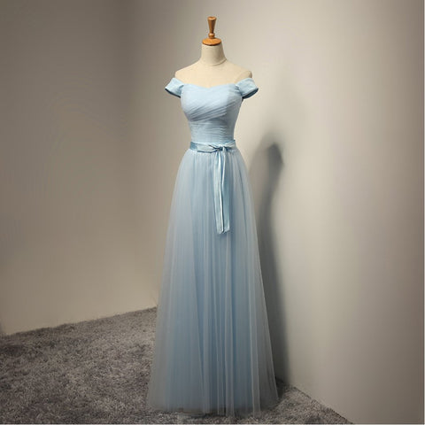 Long Bridesmaid Dress, A-Line Bridesmaid Dress, Floor-Length Bridesmaid Dress, Tulle Dress for Wedding, Off Shoulder New Arrival Bridesmaid Dress, LB0291