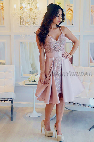 Spaghetti Straps Homecoming Dress, Lace Homecoming Dress, Backless Homecoming Dress, Pink Junior School Dress, Satin Homecoming Dress, D29