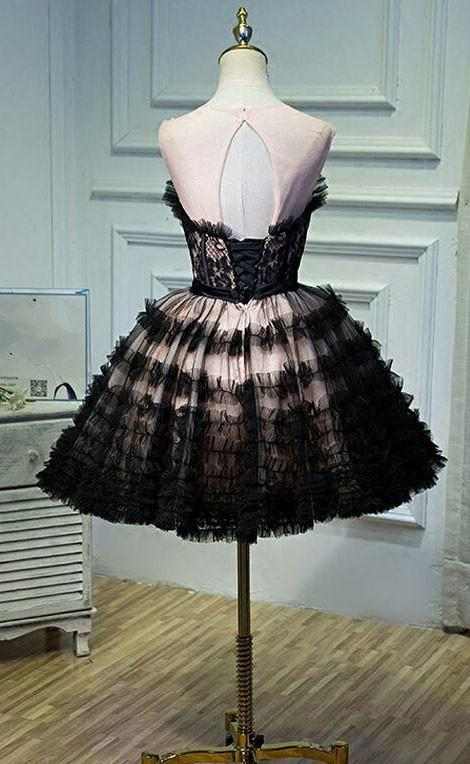 Black Lace Short Open Back Sexy Knee-Length Sleeveless Affordable Homecoming Dresses,220030