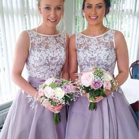 Most Popular Junior Pretty Organza Bateau Off Shoulder Lace Short Bridesmaid Dresses, WG31