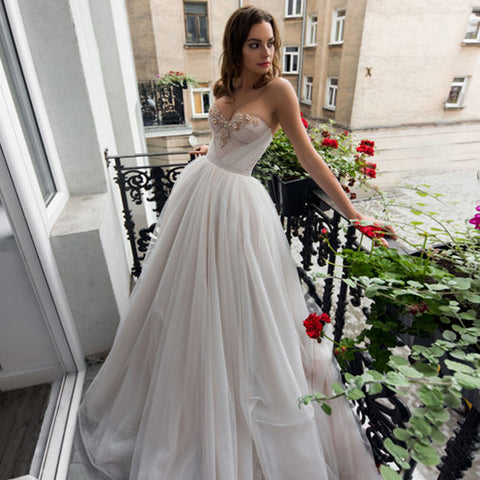 Charming Sweet Heart Wedding Dress, Beaded Backless Wedding Dress with Detachable Trailing, D315