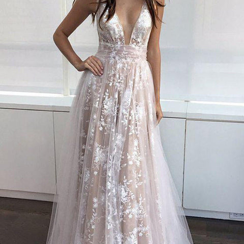 High Quality Lace Deep V Neck Backless Sexy Charming Affordable Long Wedding Dresses,220032