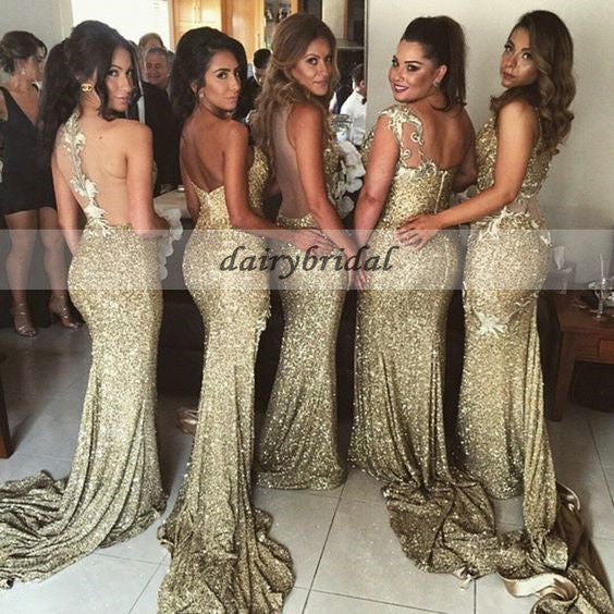 Most Popular Bridesmaid Dress: Sexy Mismatched Sequin Mermaid Bridesmaid Dress, Most