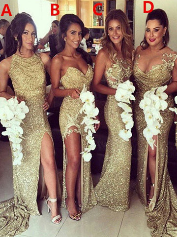Sexy Mismatched Sequin Mermaid Bridesmaid Dress, Most Popular Slit Bridesmaid Dress, D325