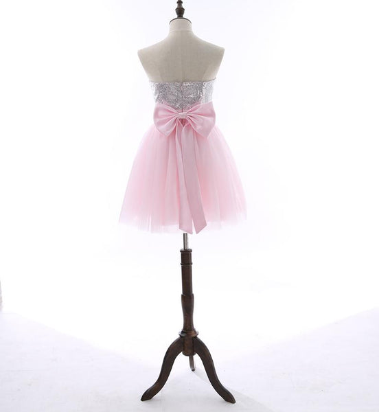 Short Homecoming Dress, Tulle Homecoming Dress, Sweet Heart Homecoming Dress, Sequin Junior School Dress, Graduation Dress, Backless Homecoming Dress, LB0328