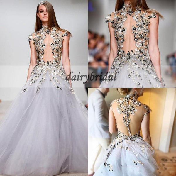 Cap Sleeve Tulle Prom Dress, Vintage Applique Prom Dress, Sexy Prom Dress, D332