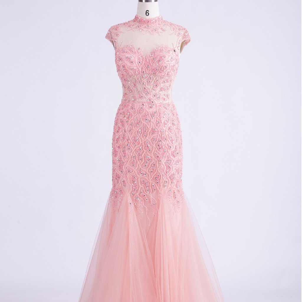 Long Prom Dresses, High Neck Prom Dresses, Tulle Party Prom Dresses, Cap Sleeve Evening Dresses, Sexy Prom Dresses,  Beading Prom Dresses Online, LB0339