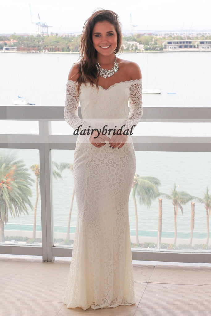 Off the Shoulder Lace Prom Dress, Charming Mermaid Long Sleeve Prom Dress, D341