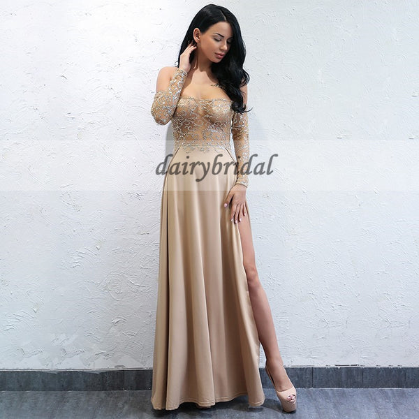 Sexy Slit Lace Prom Dress, Off shoulder Long sleeve Soft Satin Prom Dress, D346