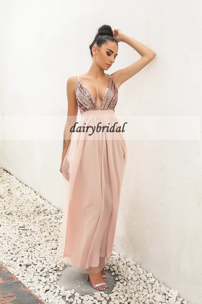 Deep V-Neck Tulle Prom Dress, Sequin Top Prom Dress, Slit Prom Dress, D347