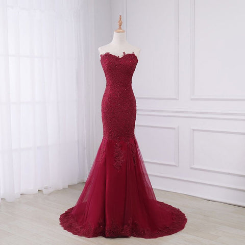 Long Prom Dresses, Lace Prom Dresses, Mermaid Party Prom Dresses, Sleeveless Evening Dresses, Prom Dresses with Court Train, Beading Prom Dresses Online, LB0348