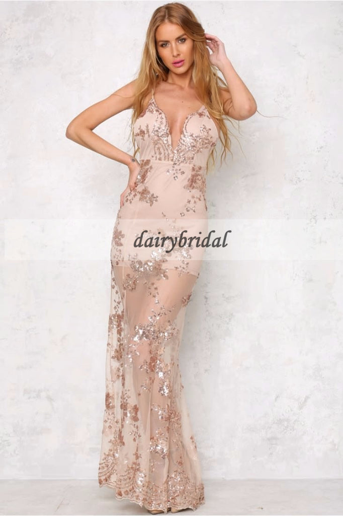 Sexy Deep V-Neck Prom Dress, Backless Lace Prom Dress, Side Split Prom Dress, D349