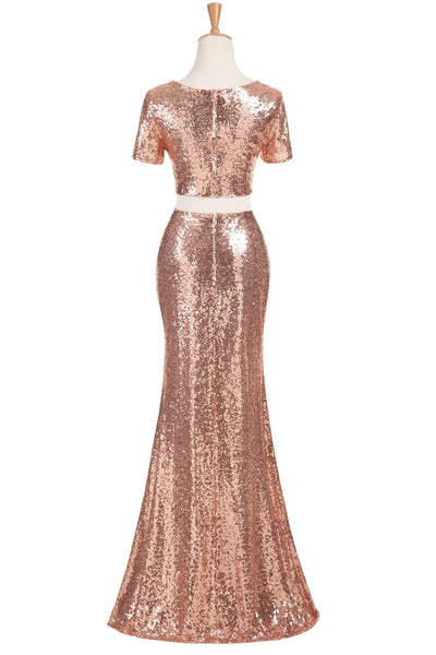 Long Bridesmaid Dress, Two Pieces Bridesmaid Dress, Mermaid Bridesmaid Dress,  Sexy Dress for Wedding, Short Sleeve Bridesmaid Dress, Sequin Bridesmaid Dress, LB0353