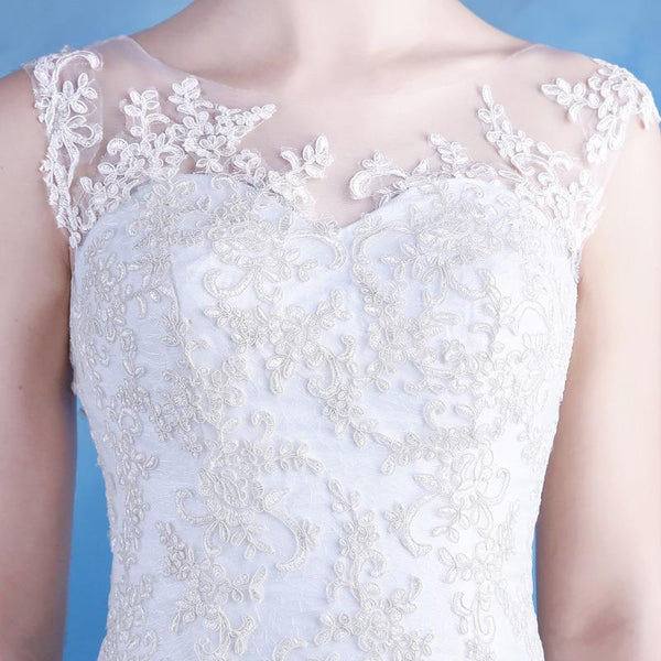 Long Wedding Dress, Hot Sale Wedding Dress, Lace Bridal Dress, A-Line Wedding Dress, Applique Wedding Dress, Tulle Wedding Dress, Sleeveless Wedding Dress, LB0361