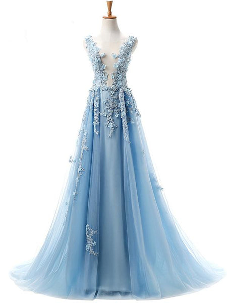 Long Prom Dresses, Tulle Prom Dresses, Elegant Party Prom Dresses, Applique Evening Dresses, A-Line Prom Dresses , Beading Prom Dresses Online, LB0363