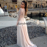 Sparkle Beaded Sequin Long Sleeve Prom Dress, Honest A-Line Tulle Prom Dress, D369
