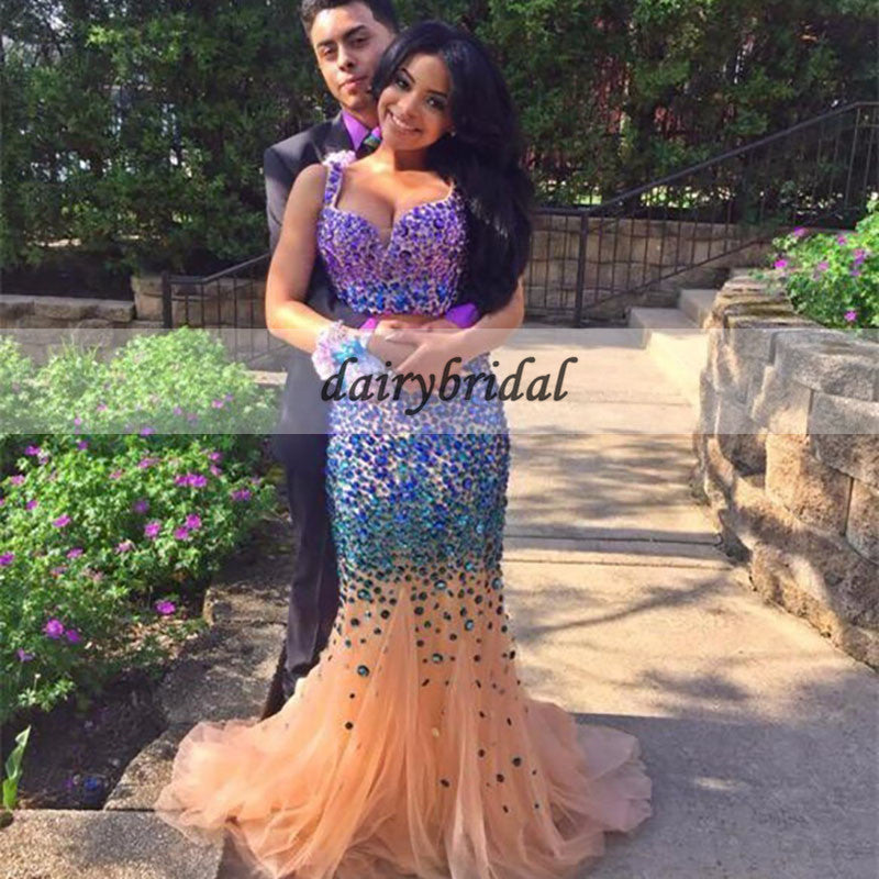 Two Pieces Prom Dress, Mermaid Prom Dress with Colorful Beads, D372