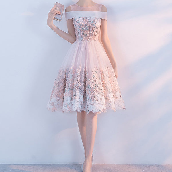 3c77d00b0a Short Homecoming Dress, Tulle Homecoming Dress, Knee-Length Homecoming Dress,  Applique Junior