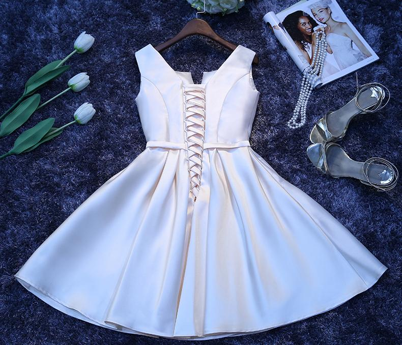 Short Homecoming Dress, Satin Homecoming Dress, Knee-Length Homecoming Dress, Simple Junior School Dress, Sleeveless Homecoming Dress, New Arrival Homecoming Dress, LB0373
