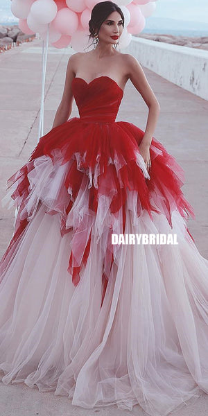 Charming Sweetheart A-line Tulle Backless Prom Dress, FC3760