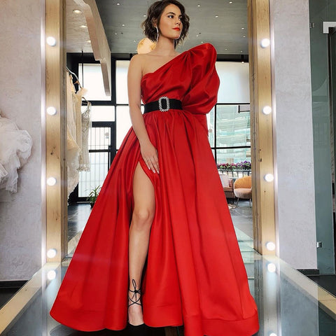 Red A-line Satin One Shoulder Half Sleeve Slit Prom Dresses, FC3762