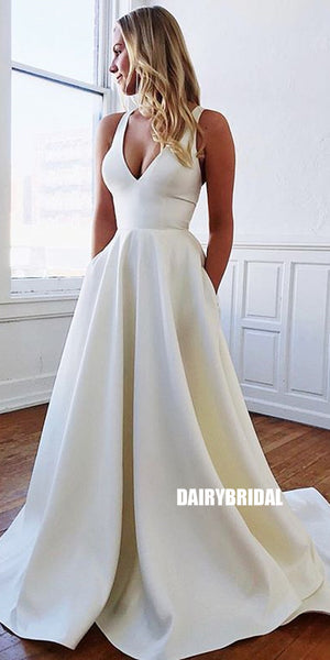 Sexy V-neck Backless A-line Satin Simple Wedding Dress, FC3797