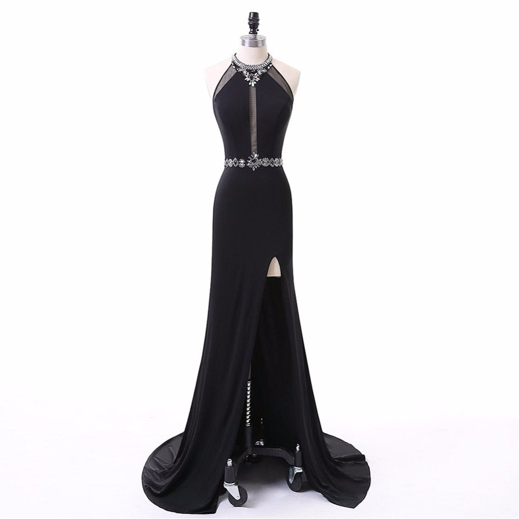 Long Prom Dresses, Chiffon Prom Dresses, Sexy Prom Dresses, Side Split Evening Dresses, Open-Back Prom Dresses , Beading Prom Dresses, Prom Dress with Rhinestone, LB0379