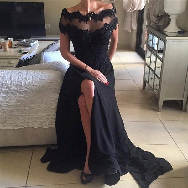 Off Shoulder Lace Prom Dress, Jersey Beaded Prom Dress, Slit Prom Dress, D379