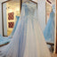 High Quality Charming Blue Off the Shoulder Applique Lace Wedding Dresses with Long Train,220038