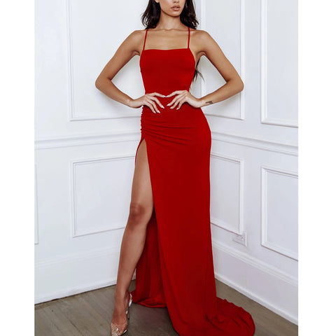 Red Spaghetti Straps Jersey Mermaid Slit Backless Prom Dress, FC3801