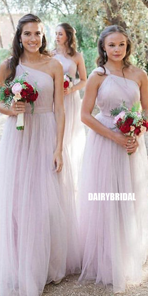 Elegant A-line One Shoulder Tulle Backless Bridesmaid Dress, FC3810