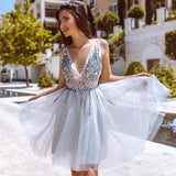 A-line Tulle V-neck Backless Beaded Homecoming Dress, FC3824