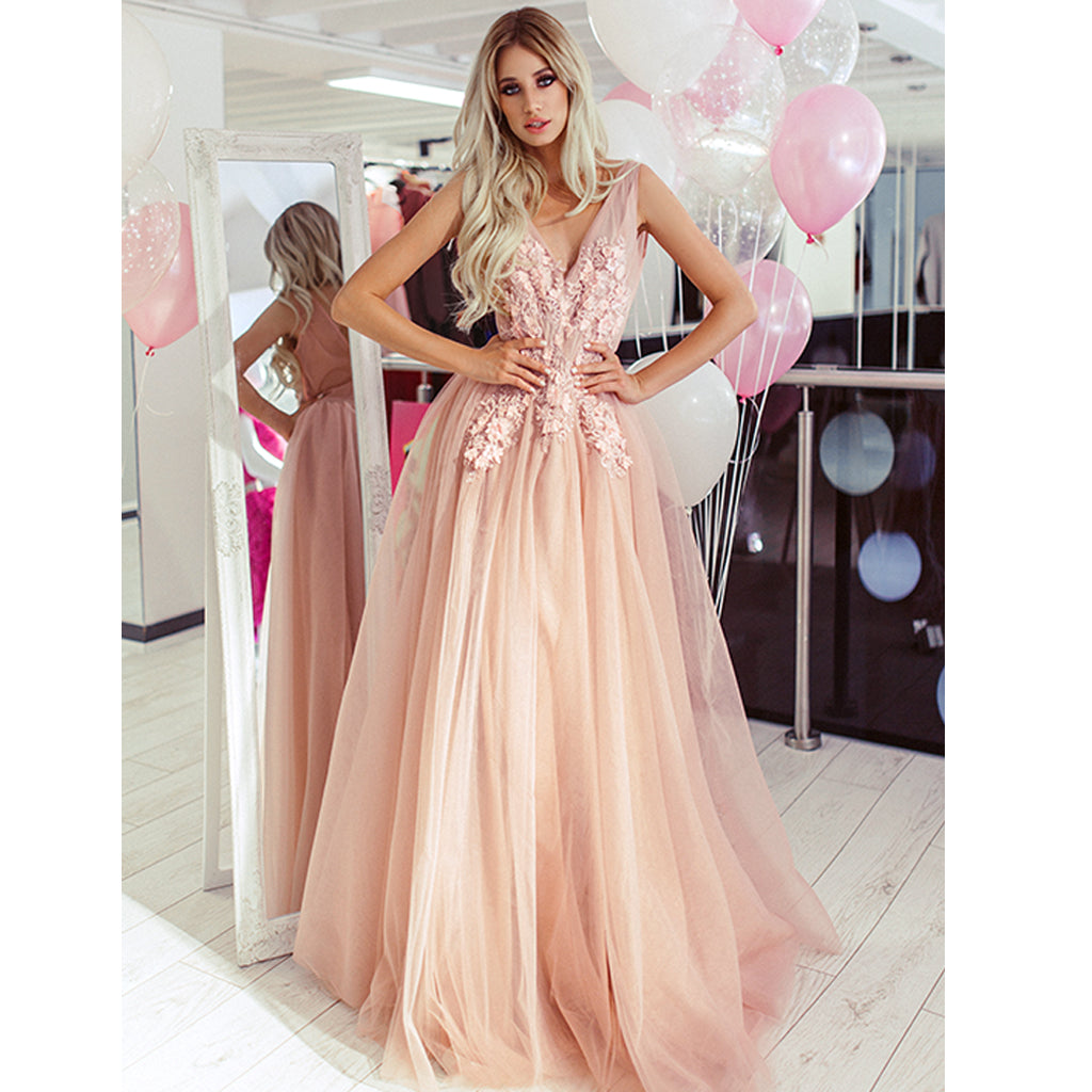 Elegant A-line Tulle V-neck Sleeveless Applique Prom Dress, FC3827
