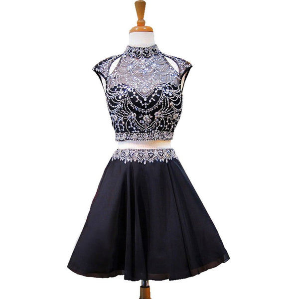 Short Homecoming Dress, Chiffon Homecoming Dress, Two Pieces Homecoming Dress, Beading Junior School Dress, Sleeveless Homecoming Dress, Rhinestone Homecoming Dress, LB0382